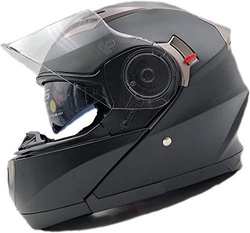Nat Hut Casco Moto Modular ECE Homologado Casco de Moto Scooter para Mujer Hombre Adultos con Doble Visera (M 57-58cm, Negro)