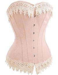 Belle fleur de cru rose brodé d'or fil de garniture désossées corset basque / G-string, taille S (36), vous faire paraître plus glamour!
