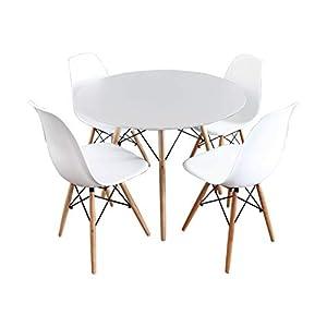 Mirjan24 Essgruppe, Tisch Fiorino Runde + 4X Stühle Fiore, Esstisch Mit  Stuhl Set,