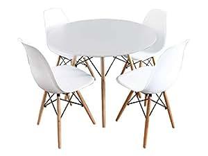 Mirjan24 Essgruppe Tisch Fiorino Runde 4x Stühle Fiore Esstisch