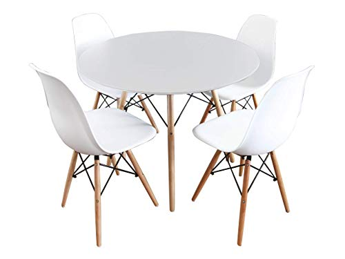 Mirjan24 Essgruppe, Tisch Fiorino Runde + 4X Stühle Fiore, Esstisch mit Stuhl Set, Sitzgruppe, Tischgruppe, Küchentisch mit 4 Stühlen (Weiß)
