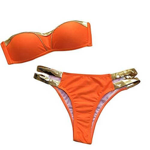 Dtuta BadeanzüGe FüR Bikinis Damen Push Up Victoria Secret Bademode Frauen Tankinis MäDchen Bronzing NäHte Gewickelt Brusttemperament Wind (Victoria Rosa Meer Bikini Secret)