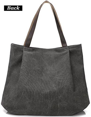 DCCN Tela Borsa a tracolla da donna Vintage borsetta Borse a mano sacchetto Messenger Borsa a Spalla shopper grande Grigio