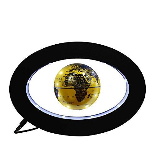 XAJGW Elektronisches schwebendes Kugel-Neuheit-elektronisches rundes Schwebungs-Tellurion mit LED-Licht-Hauptbüro-Anzeige (Farbe : Gold)
