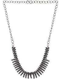 Efulgenz Antique Oxidised German Silver Fancy Party Wear Statement Necklace Jewellery For Girls And Women - B078SP7DLV