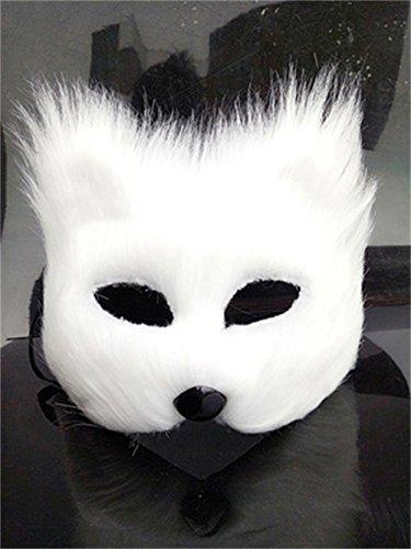 Unbekannt Jack Mall- Karnevalsmaske halbe Gesicht männliche und weibliche Tiere Katze Halloween-Maske Requisiten Kleiner Fuchs Fuchs Maske (Design : White Long-haired)
