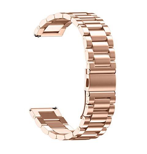 JiaMeng Banda De Reloj De Pulsera De Acero Inoxidable Metalica Bucle Universal eslabones de la Correa del Reloj Bandas Correa de Cierre Plegable (Oro Rosa,18MM)