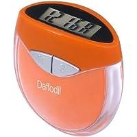 August HPC907O Podomètre Multifonction avec Calcul de pas, distance et calories avec réglage de poid et horloge numérique. Couleur Orange
