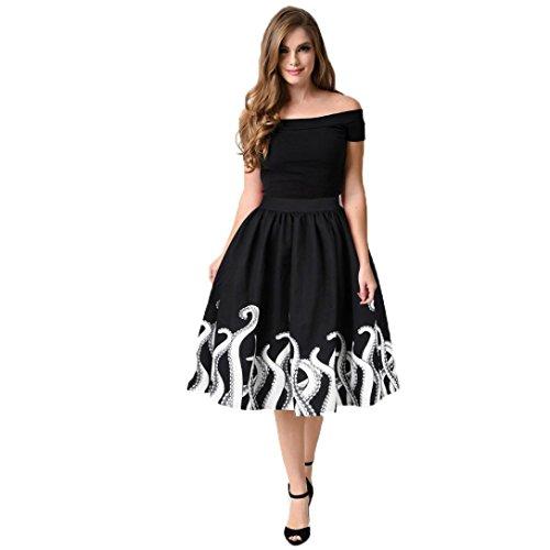 Damen Rock, YunYoud Frau Tintenfisch Tintenfisch Schick Drucken Kleid Mode Mini Rock Knielänge Skater Rock Beiläufig Falten Party Rock (M, Schwarz)