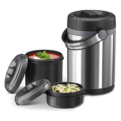 Emsa 509245 Isolier-Speisegefäß, Mobil genießen, 1,7 Liter, Mit 2 Speiseeinsätzen, 100% dicht, Mobility, schwarz/anthrazit