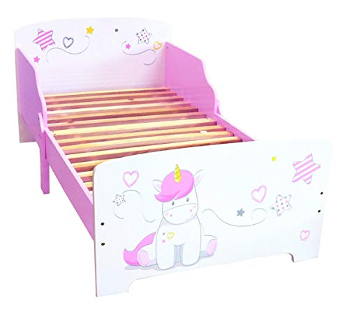 Bebegavroche Kinderbett aus Holz Einhorn + Matratze 140 cm