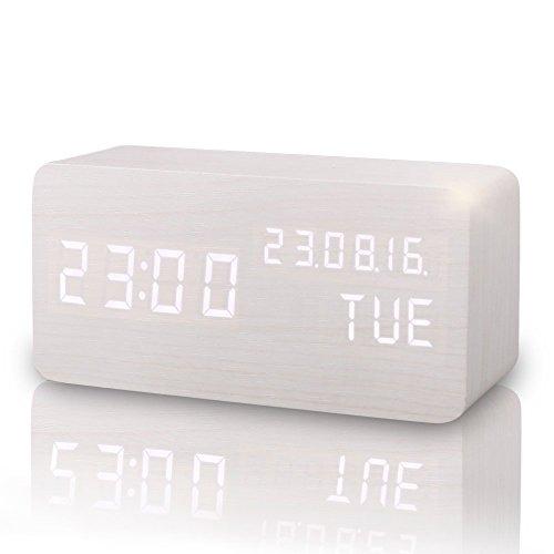 GUOLIAN Reloj Alarma Despertador Digital de Madera, Silencioso LED Pantalla Brillo Ajustable/Control de Sonido, Reloj de Mesa Indicador Calendario Tiempo y Temperatura para Hogar y Oficina (Blanco-2)
