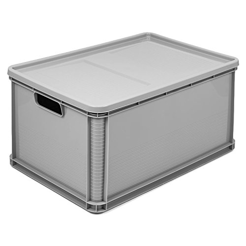 64 Liter Stapelbox mit Deckel Stapelkästen Euro Box Europalette grau Obstkiste Gewerbe