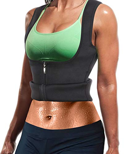 91e9966c7595f Women Hot Sweat Neoprene Weight Loss Tank Top Shirt Waist Trainer Vest  Zipper Corset Body Shaper