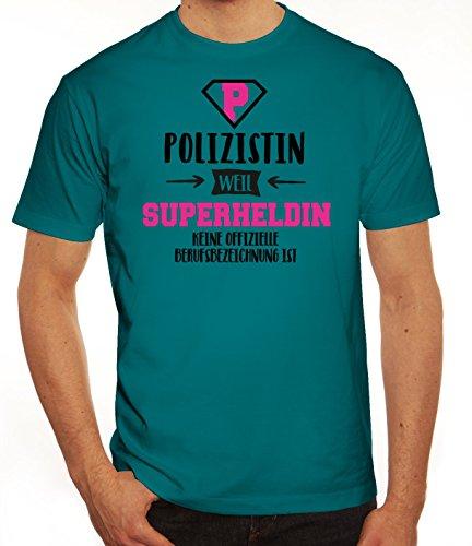 Geburtstags,-Jubiläums,-Ausbildungsgeschenk Herren T-Shirt mit Polizistin - Superheldin Motiv Diva
