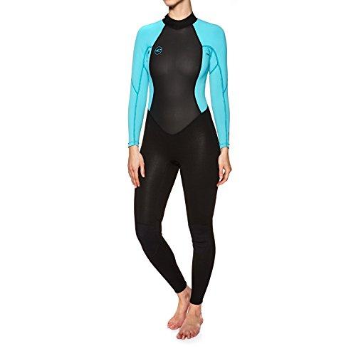 O\';Neill Damen Reactor Ii 3 / 2MM Neoprenanzug mit rückseitigem Reißverschluss Schwarzer Aqua - Easy Stretch - Eine perfekte Kombination aus Stretch und Haltbarkeit