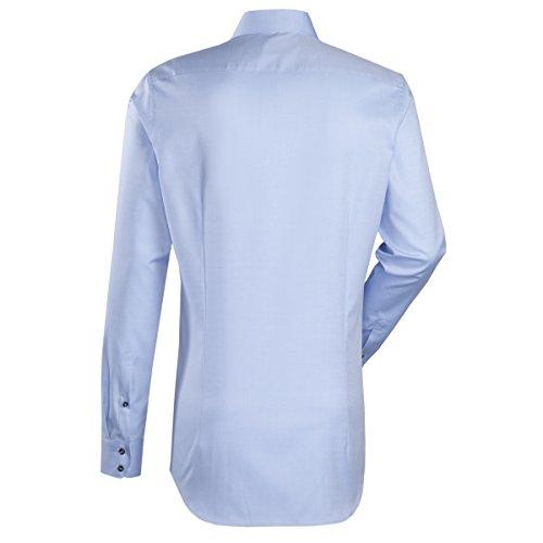 JACQUES BRITT Business Hemd Custom Fit 1/1-Arm Bügelleicht Uni / Uniähnlich City-Hemd Kent-Kragen Manschette weitenverstellbar hellblau (0011)