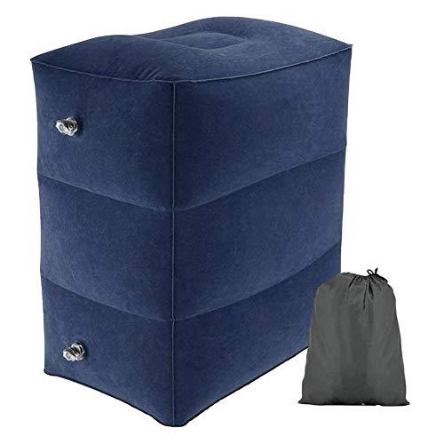 Cracklight - Cojín hinchable para los pies, paquete de reposapiés y reposapiés para viajes, oficina, en casa o simplemente para relajarse azul oscuro