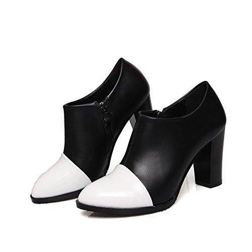AllhqFashion Femme Zip Pointu à Talon Haut Pu Cuir Couleurs Mélangées Chaussures Légeres Blanc