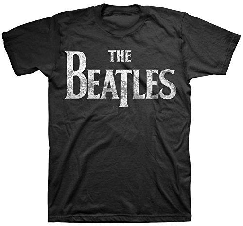 Beatles, The Männer Distressed Logo T-Shirt Black