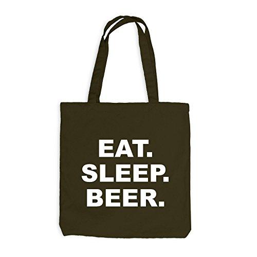 Jutebeutel - Oktoberfest - Eat. Sleep. Beer. - Text Style Wiesn Olive