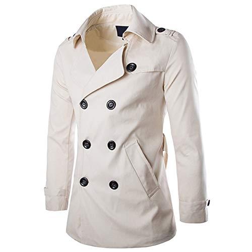 AOWOFS Herren Trenchcoat Kurz Regular Fit Jacke mit Gürtel und Klappkragen Mantel für Frühling Sommer Herbst