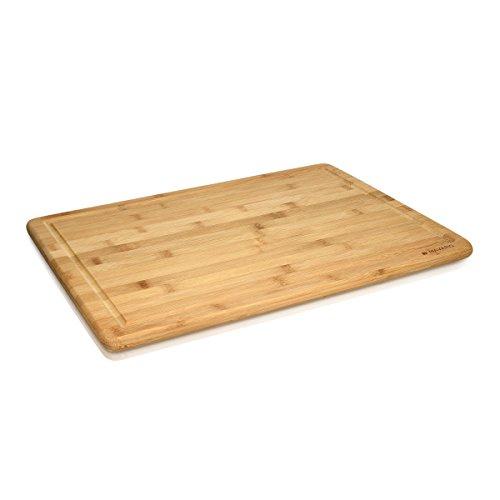 Navaris tagliere in legno di bambù xxl - tagliere da cucina grande 48x35x1,8 cm con scanalatura per tagliare pane salumi carne - vassoio