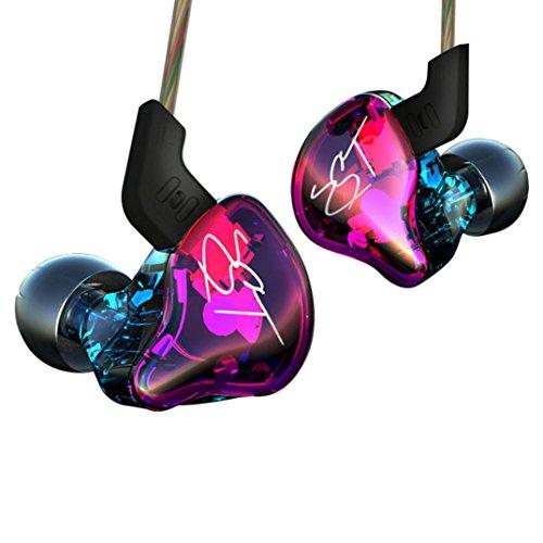 Fulltime® Ursprüngliche KZ ZST Pro Performance-In-Ohr Kopfhörer Armature + Dynamic Hybrid Einheiten HiFi Dynamisch und abnehmbare Kabeldesign Earbuds mit Patent Eartips Monitor-Kopfhörer, Colorful Edition (Ohne Mikrofon)