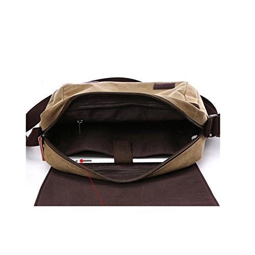 E-Bestar Unisex Vintage Schultertasche Canvas Herren Handtasche für ipad Retro Aktentasche Vintage Canvas Tasche Modishe Ideal für Büro Kaffee