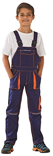 Planam Basalt Junior Latzhose, (122/128, marine-orange)