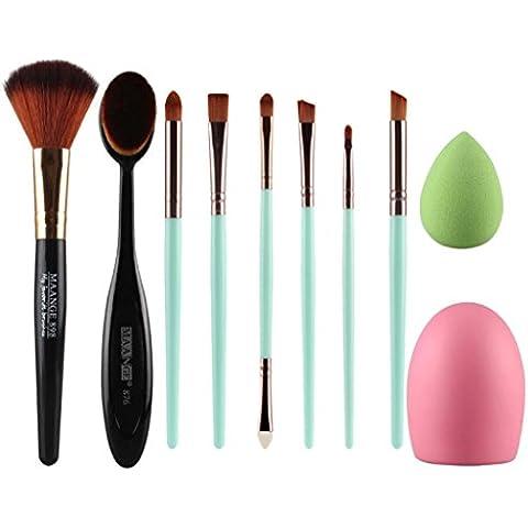 Set de Brochas de Maquillaje, Oyedens 6 PCS cosmético pincel de maquillaje profesional Cepillo de dientes del cepillo del maquillaje + Oval + Maquillaje Brush Cleaner + Maquillaje Esponja + Maquillaje cepillo de contorno