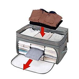 Amaoma Bambusholzkohle Aufbewahrungsbox, Kleider Aufbewahrungspaket mit Bambus-Holzkohle Faltbare mit Deckel für Kleider Büstenhalter Unterwäsche 62L, 58 * 36 * 30cm (Grau)