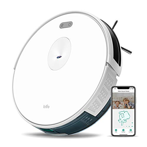 Trifo Ironpie m6+ Robot Vacuum Cleaner with Water Tank, 3 in 1 Mopping Vacuum Robot, 1800Pa Strong Suction, Remote Monitoring, Self-Charging, Wi-Fi Connectivity, Hard Floor to Low-Pile Carpet, White
