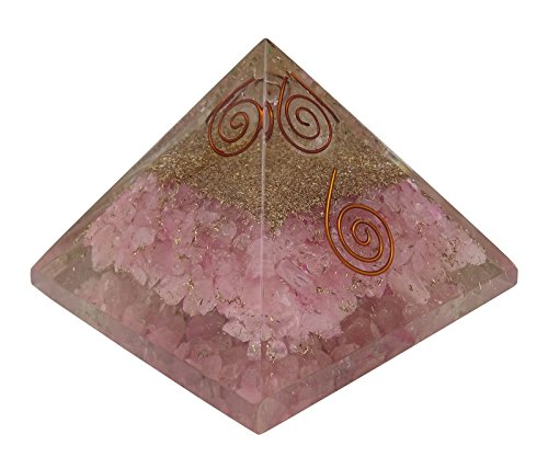 Harmonize - generatore di energia orgonica, in cristallo di quarzo rosa, piramide reiki per la guarigione bolsa de regalo negro rose (quarzo rosa)