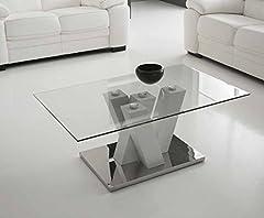 Idea Regalo - Mocada Yuri Tavolino da Salotto in Legno Acciaio e Cristallo Soggiorno Design - Bianco Frassinato