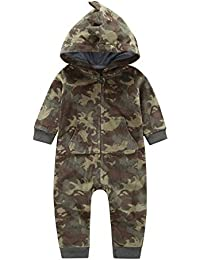 Pochers Neugeborenes Baby Boy Camouflage Mit Kapuze Strampler Overall Outfits Warme Kleidung