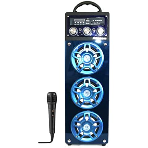 MIMACRO® Altavoz Bluetooth Inalámbrico torre portátil con Microfono para Karaoke, Color Azul