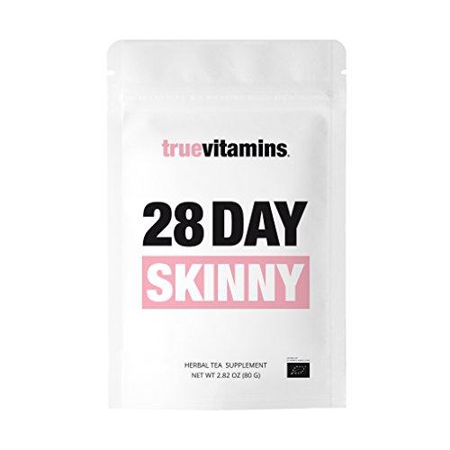28 DAY SKINNY Bio-Tee by truevitamins. Der perfekte Begleiter bei einer vierwöchigen Detox, Diät, Fasten- und Reinigungskur. Hergestellt in Deutschland.