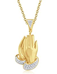 "Silvernshine 1.30 Ct Round D/VVS1 Diamond Praying Hand Pendant 18"" Chain In 14K Yellow Gold Fn"