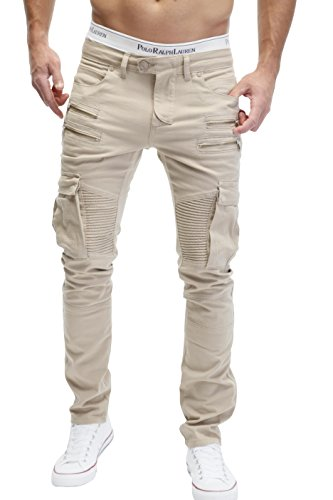 FortyFour by MERISH Herren Bikerchino Jeanshose Denim Chino Zipper BeintaschenTrend Jeans Hose Neu 2055