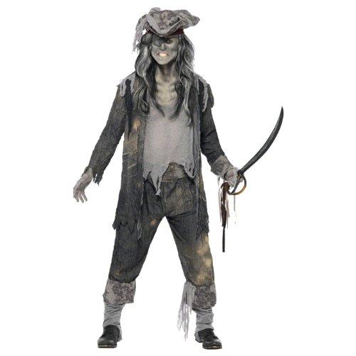 Zombie Geister Pirat Halloween Kostüm grau ()