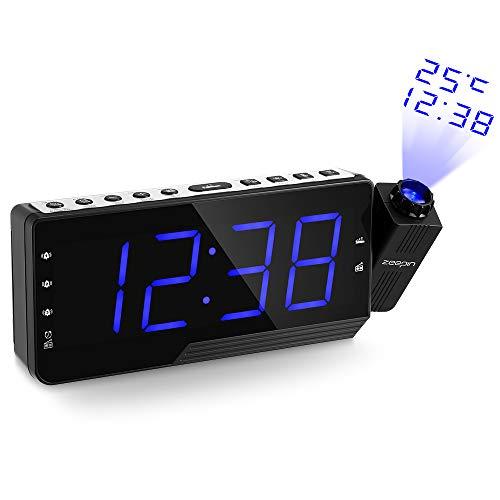 ZEEPIN Proyección del Despertador de la Radio, Despertador Techo del proyector con Radio FM, Temperatura del Tiempo de proyección del Reloj con Pantalla LED Grande con Conector USB