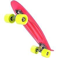 WeSkate Mini Cruiser Skateboard 55cm Retro Komplettboard mit stabilen Deck 4 PU-Rollen für Jugendliche Kinder und Erwachsene ab 4 jahre