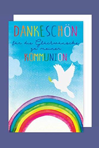Kommunion Danksagungen Karte 5er Set Regenbogen Taube 5 Grußkarten C6