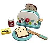 TikTakToo Spielküche aus Holz Natur zum Mitnehmen mit reichhaltigem Zubehör, Töpfe, Teller, Mixer für Kinder aus Holz, Toaster (Toaster)
