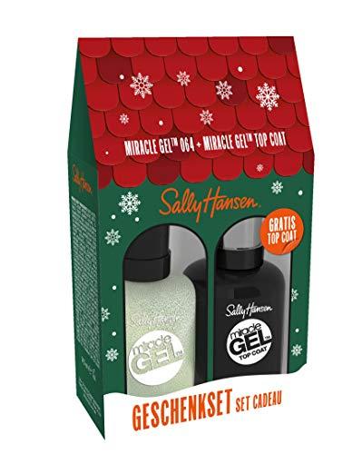 Sally Hansen Miracle Gel Nagellack X-Mas Set 64 Make it N-ice (Silber) + Top Coat, 29.40 ml