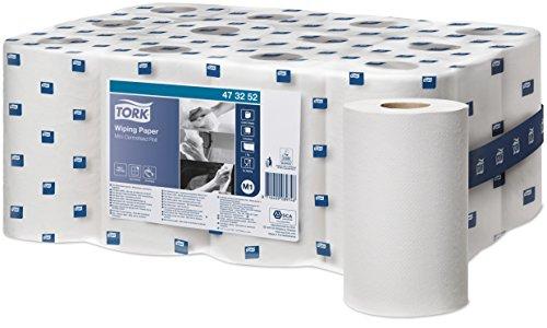 Tork 473252 Mehrzweck Papierwischtücher für das M1 Innenabrollung Mini Spendersystem / 1-lagiges stabiles Papier in Weiß, 12 x 120 Meter