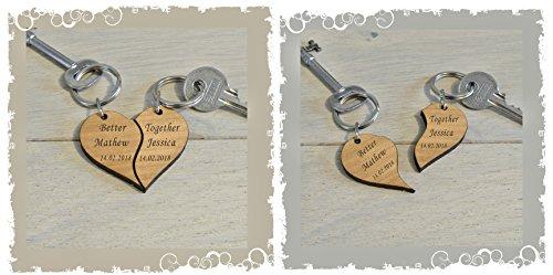 Ideal Geschenk Nachricht für The One You Love Gravur personalisierbar Spit Herz mit Namen und, Datum, Geburtstag, Valentine Weihnachten Geschenk Idee