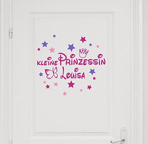 Wandtattoo Türaufkleber mit Namen~Kleine Prinzessin mit Schmetterling und Krone ~ 73008-29cm-tricolore-pink, mit bunten Sternen fürs Mädchenzimmer, Kinderzimmer Mädchen (Prinzessin Krone Wandtattoo)