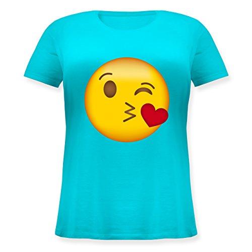 Jahreszeiten Kiss Kostüm - Comic Shirts - Emoji Kuss-Mund - XL (50/52) - Hellblau - JHK601 - Lockeres Damen-Shirt in großen Größen mit Rundhalsausschnitt